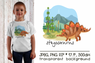 Stegosaurus - sublimation design PNG
