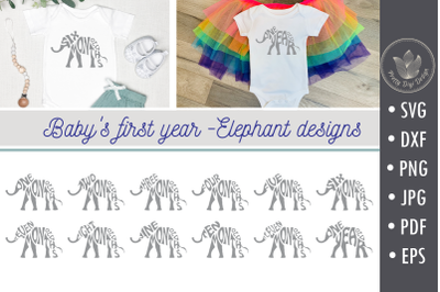 Bundle Baby's first year, Elephant shape, Svg cut files