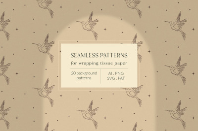 Bohemian Modern Patterns Collection. Wrapping Tissue Paper. Packaging.
