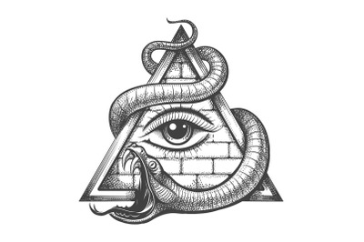 Allseeing Eye in Magic Triangle Entwined by Snake