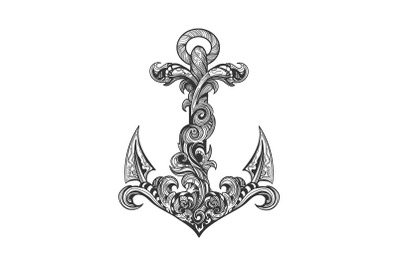 Hand Drawn Vintage Ship Anchor Tattoo