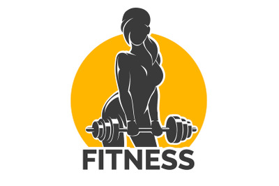 Fitness Emblem presenting Training Girl with Barbell