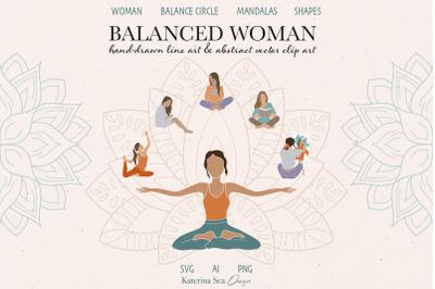 Balanced woman vector clip art
