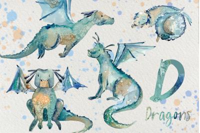 Cute Dragons - Watercolor Clip Art set