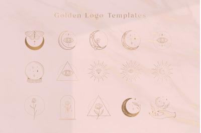 Golden Logo Elements illustrations. Social Media, Branding. Premade.