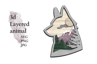 3D Layered SVG -Multilayered SVG Fox - Layered SVG Animal