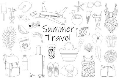 Summer travel graphics. Summer Tourism coloring. Summer SVG
