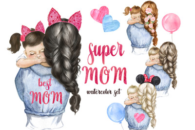 Mother's day watercolor clipart. Mom PNG. Super mom PNG. Mother's Day