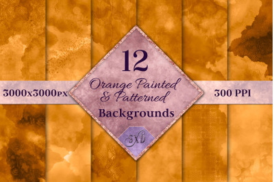 Orange Painted and Patterned Backgrounds - 12 Image Textures