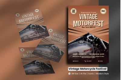 Vintage Motorbike Festival Flyer Brochure Template