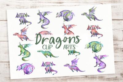 Cute Colored Dragons - Clip Art Set