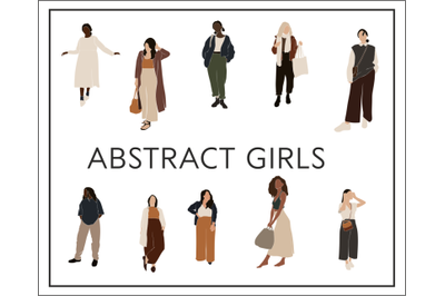 Business girls, abstract women, black girl, vector illustration, curvy
