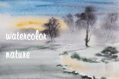 watercolor nature and landscape trees, river and fog at sunrise