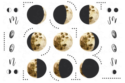 Watercolor Moon Phases Collections