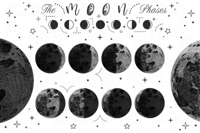 Moon Phases Watercolor Set