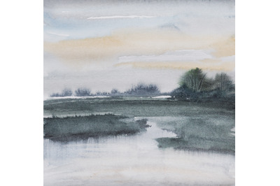 watercolor nature and landscape with tree and river at sun down