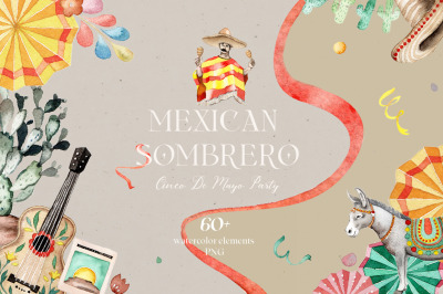 Mexican Sambrero-watercolor set