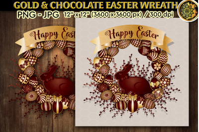 Easter Gold & Chocolate Bunny Wreath JPG & PNG format 12x12 inches