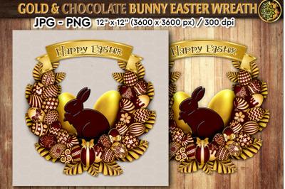 Easter Golden Wreath & Chocolate Bunny in 2 format versions, JPG & PNG