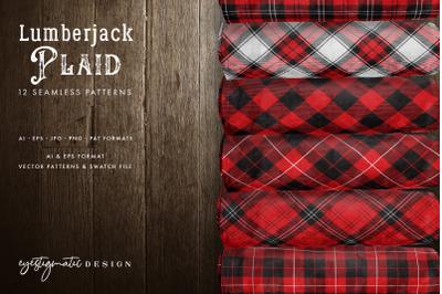 12 Seamless Red Lumberjack Plaid Digital Patterns