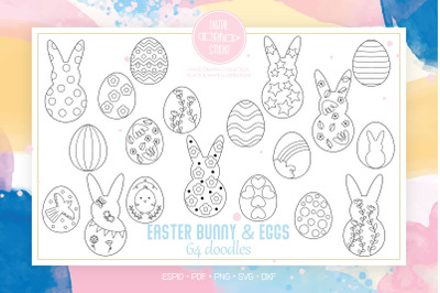 Easter Bunny & Eggs Doodles | Decorated Heart, Flower, Polka Dots