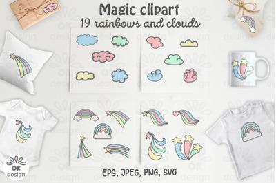 Rainbow Unicorn Clipart. Baby shower clipart, magic unicorn graphics.