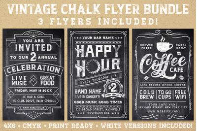 Vintage Chalk Flyer Poster Bundle