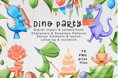 Cute dinosaur party digital clipart 100% hand-drawn