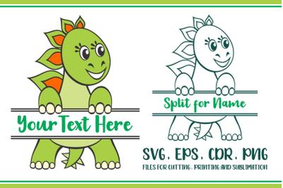 Stegosaurus Split for Name SVG