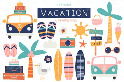 Vacation clipart set