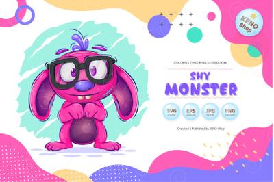 Shy cartoon monster