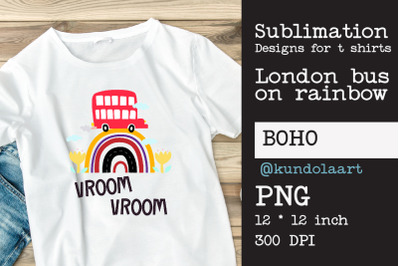 London bus on rainbow PNG, sublimation