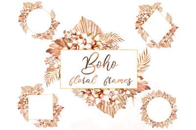 Boho jungle floral frames. Dried tropical leaves, orchids Boho wedding
