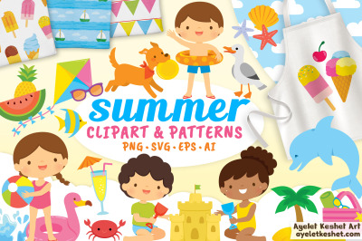 Summer clipart / beach clipart with seamless patterns