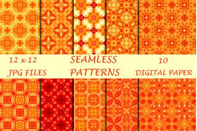 Orange Geometric Digital Papers