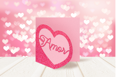 Amor Heart Layered Papercut Card   SVG   PNG   DXF   EPS