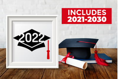 Grad Cap Years 2021-2030   SVG   PNG   DXF   EPS