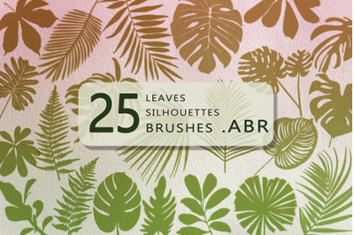 25 tropical leaves silhouettes  brushes for Photoshop and Procreate .A