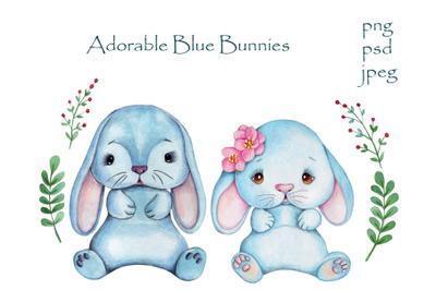 Adorable Blue Bunny Rabbits.