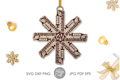 Vaccinated ornament, Christmas ornaments SVG, laser cutting, score ,en