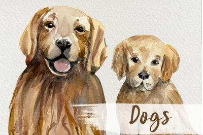 Watercolor Dog and Puppy Clip Art