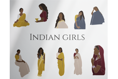 indian girl, abstract woman, black girl, clipart svg,  fashion clipart