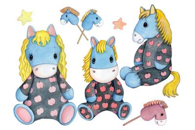 Three cute dappled Horses. Watercolor.