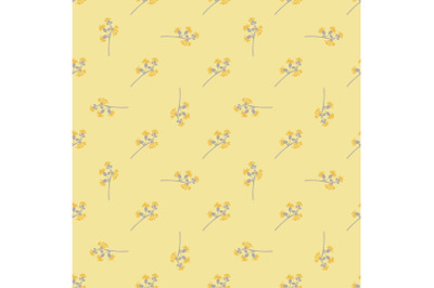 Hand drawn bloom grey branches with yellow flowers, floral seamless pa