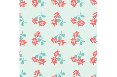 Hand drawn bloom blue branches with red flowers, floral seamless patte