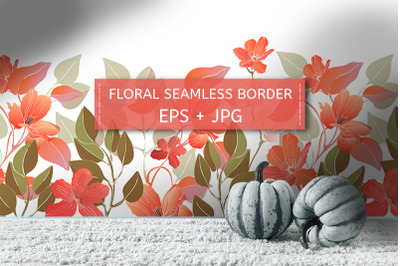 Coral color flowers. Border.