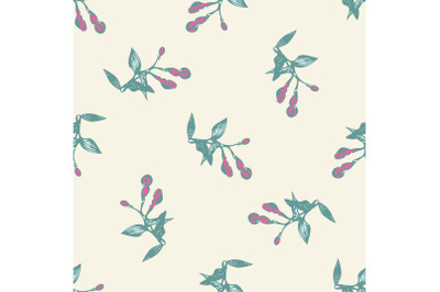 Hand drawn bloom green branches with pnik flowers, floral seamless pat