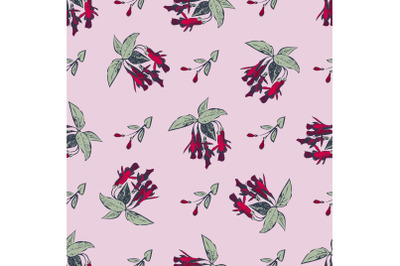 Hand drawn bloom fuchsia flowers, engraving floral seamless pattern ab