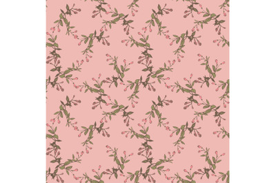 Hand drawn bloom green branches with pink flowers, floral seamless pat