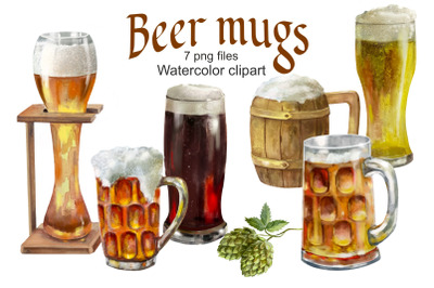 Beer Mugs and Glass watercolor clipart printable,Drink .